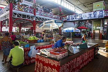 The central market of Papeete, Tahiti, Society Islands, French Polynesia, Pacific