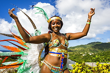 Dressed up girl at the Carnival of Montserrat, British Overseas Territory, West Indies, Caribbean, Central America
