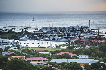 View over the boat harbour of Sint Maarten, Sint Maarten, West Indies, Caribbean, Central America