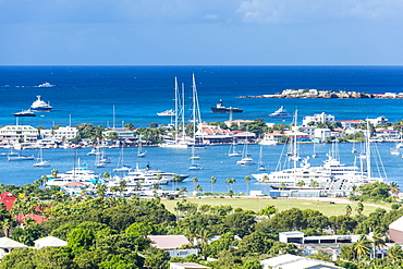 View over Marigot from Fort St. Louis, St. Martin, French territory, West Indies, Caribbean, Central America
