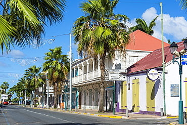 Colonial architecture in Marigot, St. Martin, French territory, West Indies, Caribbean, Central America