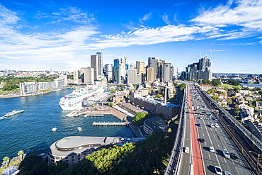 View over Sydney from the harbour bridge, Sydney, New South Wales, Australia, Pacific