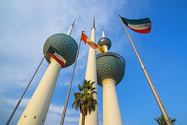 Landmark Kuwait towers in Kuwait City, Kuwait, Middle East