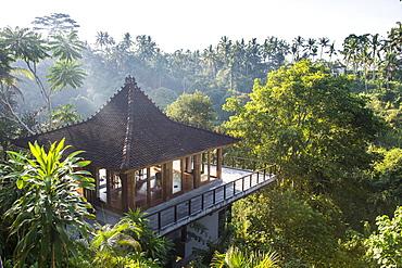 Beautiful pavillion overlooking a valley, Kamandalu Ubud resort, Ubud, Bali, Indonesia, Southeast Asia, Asia