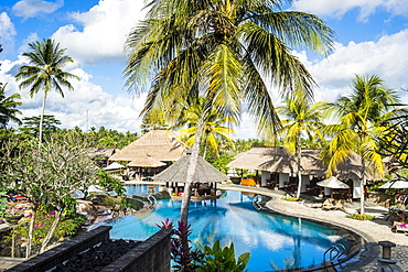 Beautiful swimming pool, Kamandalu Ubud resort, Ubud, Bali, Indonesia, Southeast Asia, Asia