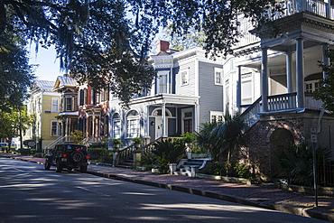 Beautiful historic buildings along the Forsyth Park, Savannah, Georgia, United States of America, North America