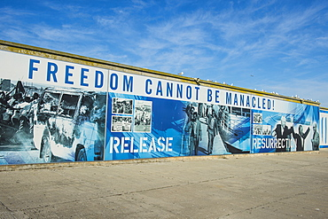 Freedom posters in the harbour of Robben Island, UNESCO World Heritage Site, South Africa, Africa