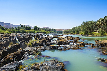 Epupa Falls on the Kunene River on the border between Angola and Namibia, Namibia, Africa