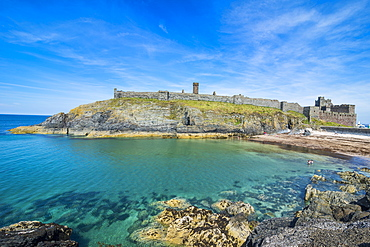 Peel Castle, Peel, Isle of Man, crown dependency of the United Kingdom, Europe