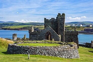 Peel Castle, Peel, Isle of Man, crown dependency of the United Kingdom, Europe