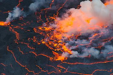The very active lava lake of Mount Nyiragongo, Virunga National Park, UNESCO World Heritage Site, Democratic Republic of the Congo, Africa