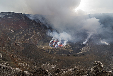 The crater with active lava lake of Mount Nyiragongo, Virunga National Park, UNESCO World Heritage Site, Democratic Republic of the Congo, Africa