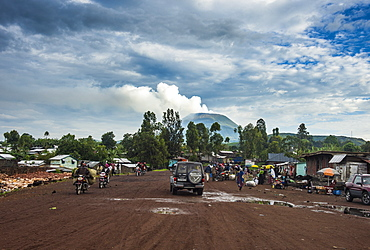Mount Nyiragongo looming behind the town of Goma, Democratic Republic of the Congo, Africa
