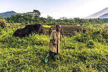 Happy young farming boy, Virunga National Park, Democratic Republic of the Congo, Africa