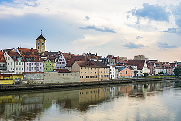 Danube River and skyline of Regensburg, UNESCO World Heritage Site, Bavaria, Germany, Europe
