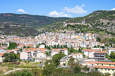 View over the town of Bosa at the River Temo, Sardinia, Italy, Europe