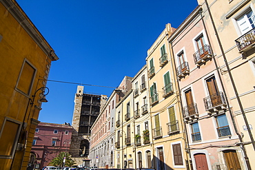 Old houses in the old town of Cagliari, Sardinia, Italy, Europe