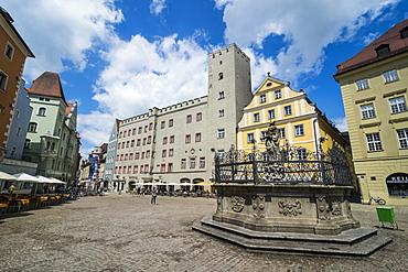 Goldenes Kreuz patricia castle on Haidplatz, Regensburg, UNESCO World Heritage Site, Bavaria, Germany, Europe