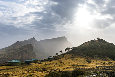 Sun setting over the Simien Mountains National Park, UNESCO World Heritage Site, Debarq, Ethiopia, Africa