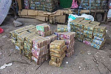 Huge piles of money, Hargeisa, Somaliland, Somalia, Africa