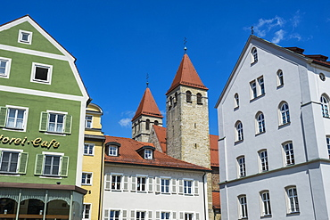 Medieval patrician houses and towers in Regensburg, UNESCO World Heritage Site, Bavaria, Germany, Europe