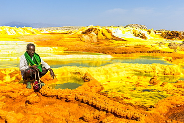 Colourful springs of acid in Dallol, hottest place on earth, Danakil depression, Ethiopia, Africa