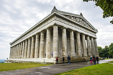 Neo-classical Walhalla hall of fame on the Danube. Bavaria, Germany, Europe