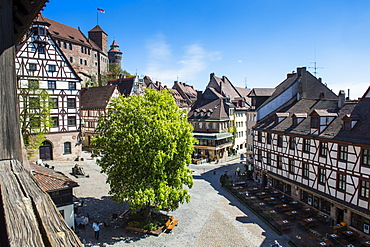 View over the Albrecht Duerer square and the imperial castle of Nuremberg, Bavaria, Germany, Europe