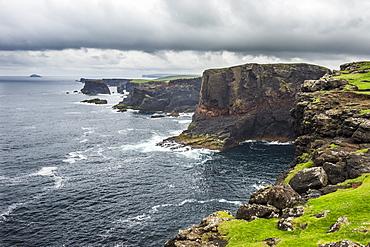 The dramatic cliffs under the Eshaness Lighthouse, Shetland Islands, Scotland, United Kingdom, Europe