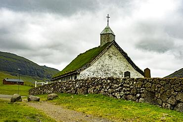 Old church in Saksun, Streymoy, Faroe Islands, Denmark, Europe