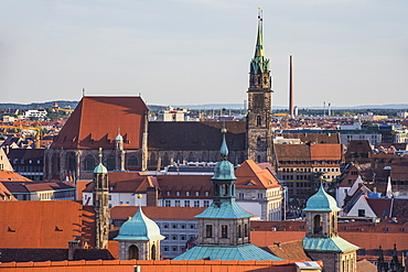 View over the medieval center of the town of Nuremberg, Bavaria, Germany, Europe