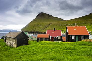 Colourful houses in the village of Gjogv, Estuyroy, Faroe Islands, Denmark, Europe