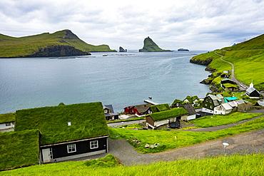 Bour village with many grasstop roofs, Vagar, Faroe Islands, Denmark, Europe
