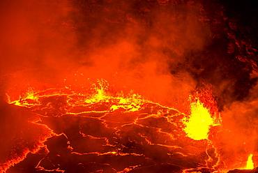 Very active lava lake of Erta Ale shield volcano, Danakil depression, Ethiopia, Africa
