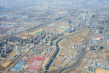 Aerial of the landscape and an industrial settlement around Bejing, China, Asia