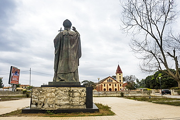 Statue of the Pope erected for the visit of Pope John Paul, Cabinda, Angola, Africa