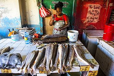 Woman preparing fresh fish in the Stabroek market, Georgetown, Guyana, South America
