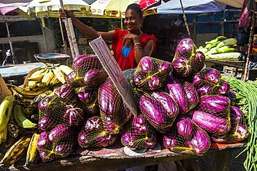 Huge eggplants for sale, Stabroek market, Georgetown, Guyana, South America