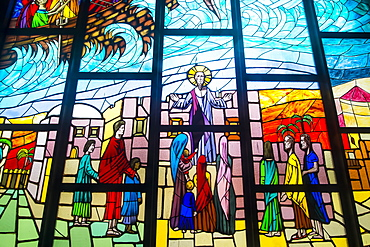 Stained glass in the interior of St. Paul's Cathedral, Abidjan, Ivory Coast, West Africa, Africa