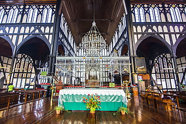 Interior of the St. George's Cathedral, one of the largest wooden churches in the world, Georgetown, Guyana, South America