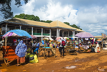 Market in front of the Mosque of Foumban, Cameroon, Africa