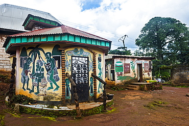 Colourful little houses in Foumban, Cameroon, Africa