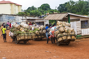 Overloaded carriers on the border with Nigeria, Cameroon, Africa