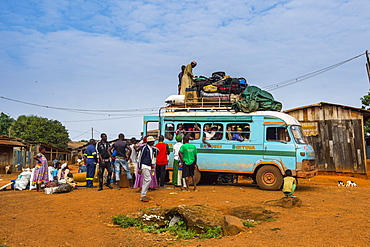 Fully loaded local bus in Libongo, deep in the jungle of Cameroon, Africa