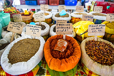 Spices for sale on the covered Spice market, Pointe-a-Pitre, Guadeloupe, French Overseas Department, West Indies, Caribbean, Central America