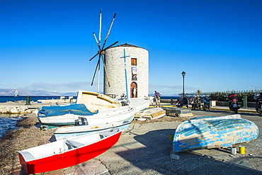 Windmill in the old town of Corfu, Ionian Islands, Greek Islands, Greece, Europe