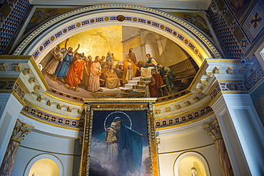 Beautiful paintings in the Achilleion Palace, old town of Corfu, Ionian Islands, Greek Islands, Greece, Europe