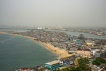 View over the shantytown of West Point, Monrovia, Liberia, West Africa, Africa