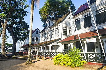 Colonial wooden buildings in Fort Zeelandia, UNESCO World Heritage Site, Paramaribo, Surinam, South America