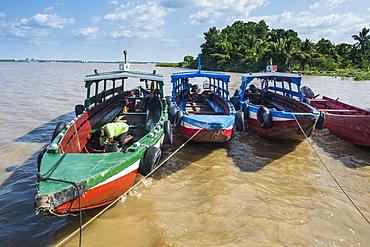 Colourful boats on the Suriname River, Paramaribo, Surinam, South America